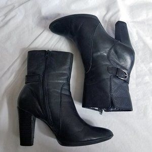 ANA Women's Black Leather Heeled Ankle Boots Shoes